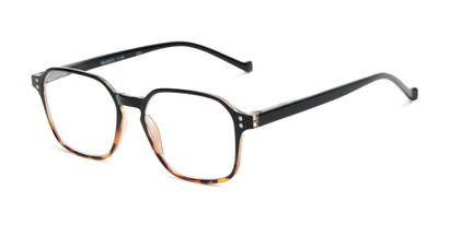 Angle of The Ollie in Black/Tortoise Fade, Women's and Men's Square Reading Glasses