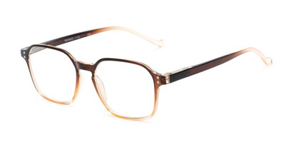 Angle of The Ollie in Brown Fade, Women's and Men's Square Reading Glasses