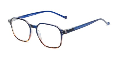 Angle of The Ollie in Navy Blue/Tortoise Fade, Women's and Men's Square Reading Glasses