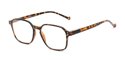 Angle of The Ollie in Tortoise, Women's and Men's Square Reading Glasses