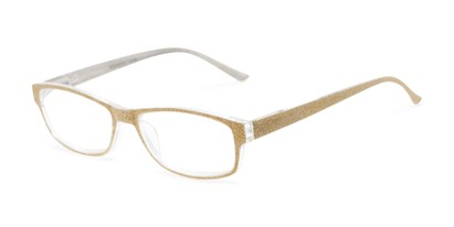 Angle of The Opal in Gold Glitter, Women's Rectangle Reading Glasses