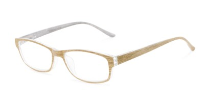 Angle of The Opal in Gold Stripe, Women's Rectangle Reading Glasses