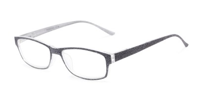 Angle of The Opal in Grey Glitter, Women's Rectangle Reading Glasses