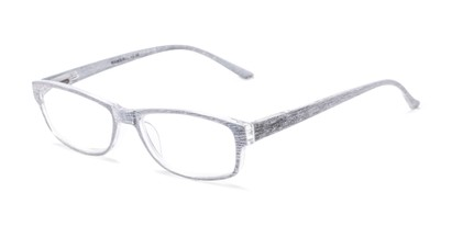 Angle of The Opal in Silver Stripe, Women's Rectangle Reading Glasses