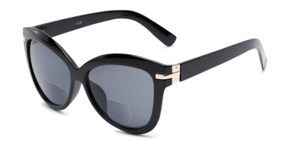 Angle of The Ophelia Bifocal Reading Sunglasses in Glossy Black with Smoke, Women's Cat Eye Reading Sunglasses