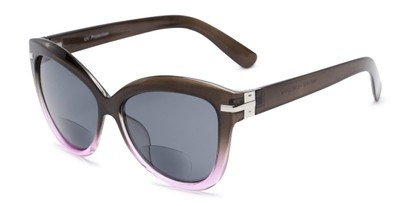 Angle of The Ophelia Bifocal Reading Sunglasses in Glossy Brown/Purple with Smoke, Women's Cat Eye Reading Sunglasses