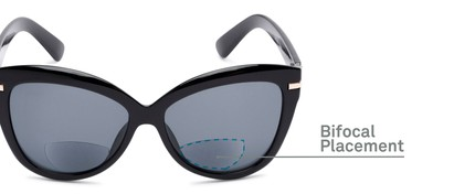 Detail of The Ophelia Bifocal Reading Sunglasses in Glossy Black with Smoke
