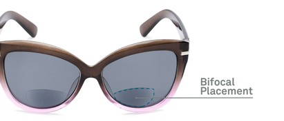 Detail of The Ophelia Bifocal Reading Sunglasses in Glossy Brown/Purple with Smoke