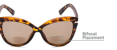 Detail of The Ophelia Bifocal Reading Sunglasses in Matte Tortoise with Amber