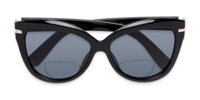 Folded of The Ophelia Bifocal Reading Sunglasses in Glossy Black with Smoke