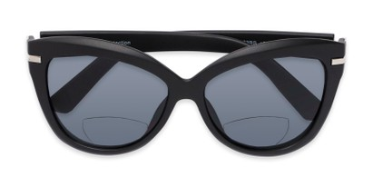 Folded of The Ophelia Bifocal Reading Sunglasses in Matte Black with Smoke