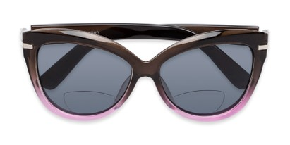 Folded of The Ophelia Bifocal Reading Sunglasses in Glossy Brown/Purple with Smoke