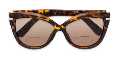 Folded of The Ophelia Bifocal Reading Sunglasses in Matte Tortoise with Amber
