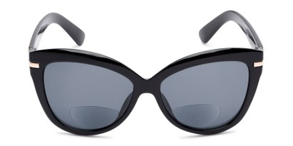 Front of The Ophelia Bifocal Reading Sunglasses in Glossy Black with Smoke