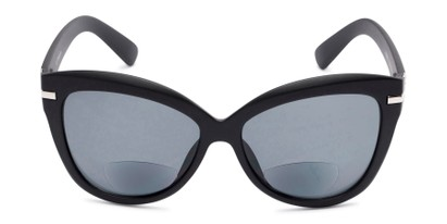 Front of The Ophelia Bifocal Reading Sunglasses in Matte Black with Smoke