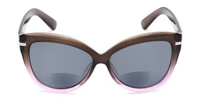 Front of The Ophelia Bifocal Reading Sunglasses in Glossy Brown/Purple with Smoke
