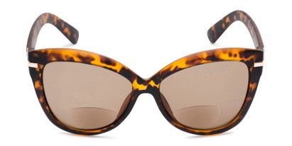 Front of The Ophelia Bifocal Reading Sunglasses in Matte Tortoise with Amber