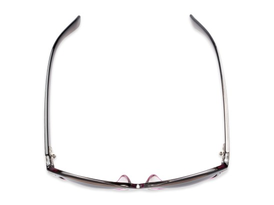 Overhead of The Ophelia Bifocal Reading Sunglasses in Glossy Brown/Purple with Smoke