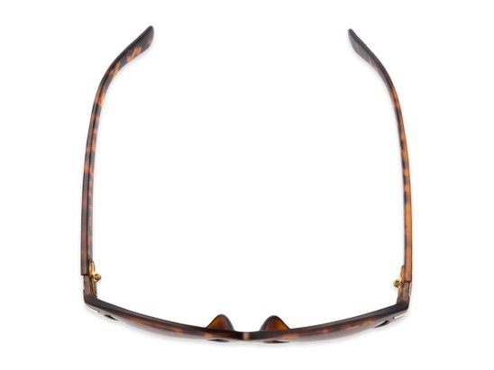 Overhead of The Ophelia Bifocal Reading Sunglasses in Matte Tortoise with Amber