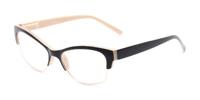 Angle of The Orchid in Tan and Black, Women's Cat Eye Reading Glasses