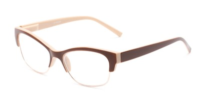 Angle of The Orchid in Tan and Brown, Women's Cat Eye Reading Glasses