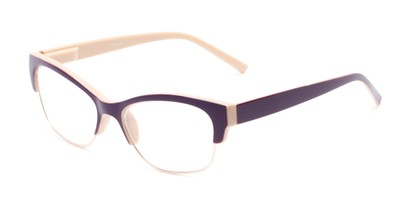 Angle of The Orchid in Tan and Purple, Women's Cat Eye Reading Glasses
