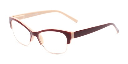 Angle of The Orchid in Tan and Red, Women's Cat Eye Reading Glasses