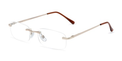 Angle of The Orion in Gold, Women's and Men's Rectangle Reading Glasses