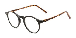 Angle of The Ormand in Black/Matte Brown Tortoise, Women's and Men's Round Reading Glasses