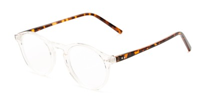 Angle of The Ormand in Clear/Brown Tortoise, Women's and Men's Round Reading Glasses