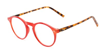 Angle of The Ormand in Red/Matte Brown Tortoise, Women's and Men's Round Reading Glasses