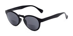 Angle of The Ortiz Bifocal Reading Sunglasses in Black with Smoke, Women's and Men's Round Reading Sunglasses