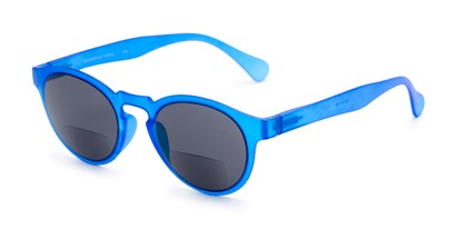 Angle of The Ortiz Bifocal Reading Sunglasses in Blue with Smoke, Women's and Men's Round Reading Sunglasses