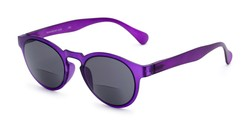 Angle of The Ortiz Bifocal Reading Sunglasses in Purple with Smoke, Women's and Men's Round Reading Sunglasses