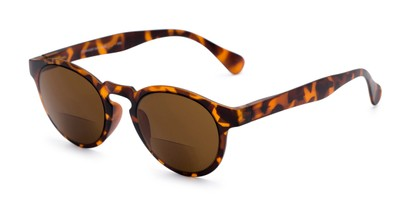 Angle of The Ortiz Bifocal Reading Sunglasses in Tortoise with Amber, Women's and Men's Round Reading Sunglasses