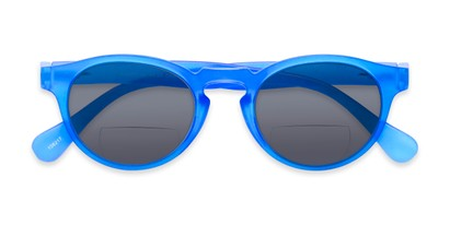 Folded of The Ortiz Bifocal Reading Sunglasses in Blue with Smoke