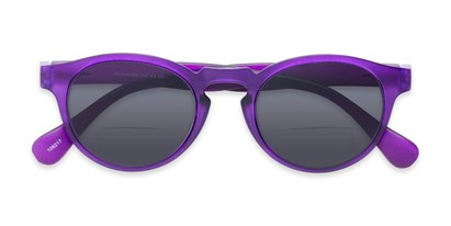 Folded of The Ortiz Bifocal Reading Sunglasses in Purple with Smoke