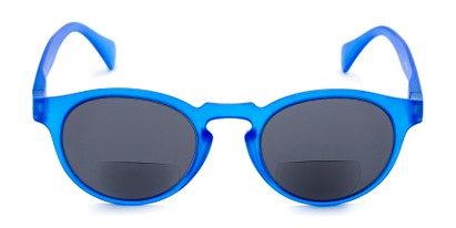 Front of The Ortiz Bifocal Reading Sunglasses in Blue with Smoke