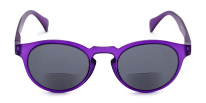 Front of The Ortiz Bifocal Reading Sunglasses in Purple with Smoke