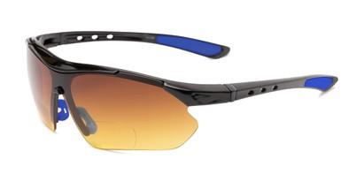 Angle of The Outback Driving Bifocal Reading Sunglasses in Black/Blue with Amber, Women's and Men's Sport & Wrap-Around Reading Sunglasses