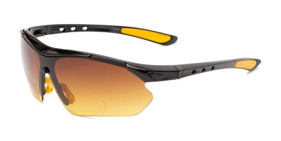 Angle of The Outback Driving Bifocal Reading Sunglasses in Black/Yellow with Amber, Women's and Men's Sport & Wrap-Around Reading Sunglasses