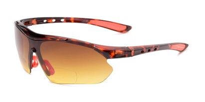 Angle of The Outback Driving Bifocal Reading Sunglasses in Tortoise/Red with Amber, Women's and Men's Sport & Wrap-Around Reading Sunglasses