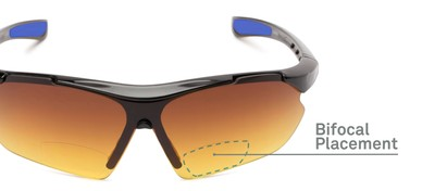 Detail of The Outback Driving Bifocal Reading Sunglasses in Black/Blue with Amber