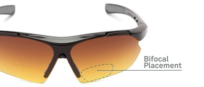 Detail of The Outback Driving Bifocal Reading Sunglasses in Black/Grey with Amber