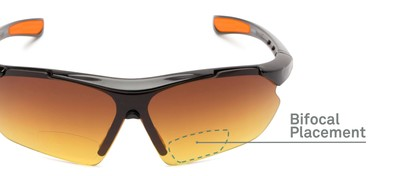 Detail of The Outback Driving Bifocal Reading Sunglasses in Black/Orange with Amber