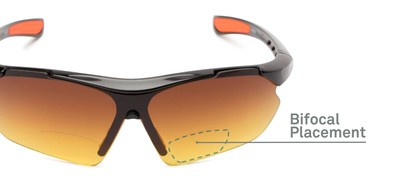 Detail of The Outback Driving Bifocal Reading Sunglasses in Black/Red with Amber