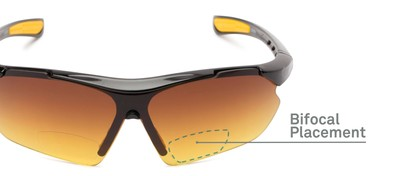 Detail of The Outback Driving Bifocal Reading Sunglasses in Black/Yellow with Amber