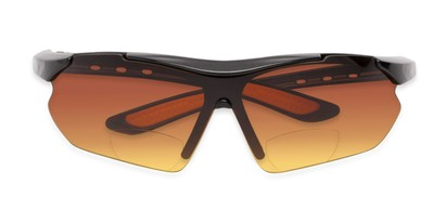 Folded of The Outback Driving Bifocal Reading Sunglasses in Black/Orange with Amber