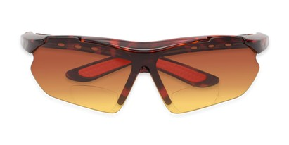 Folded of The Outback Driving Bifocal Reading Sunglasses in Tortoise/Red with Amber