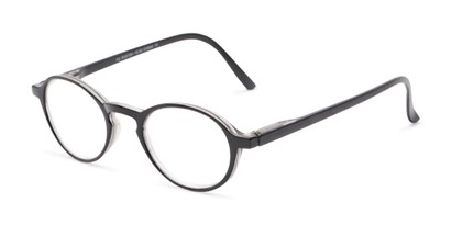 Angle of The Overland in Black, Women's and Men's Round Reading Glasses